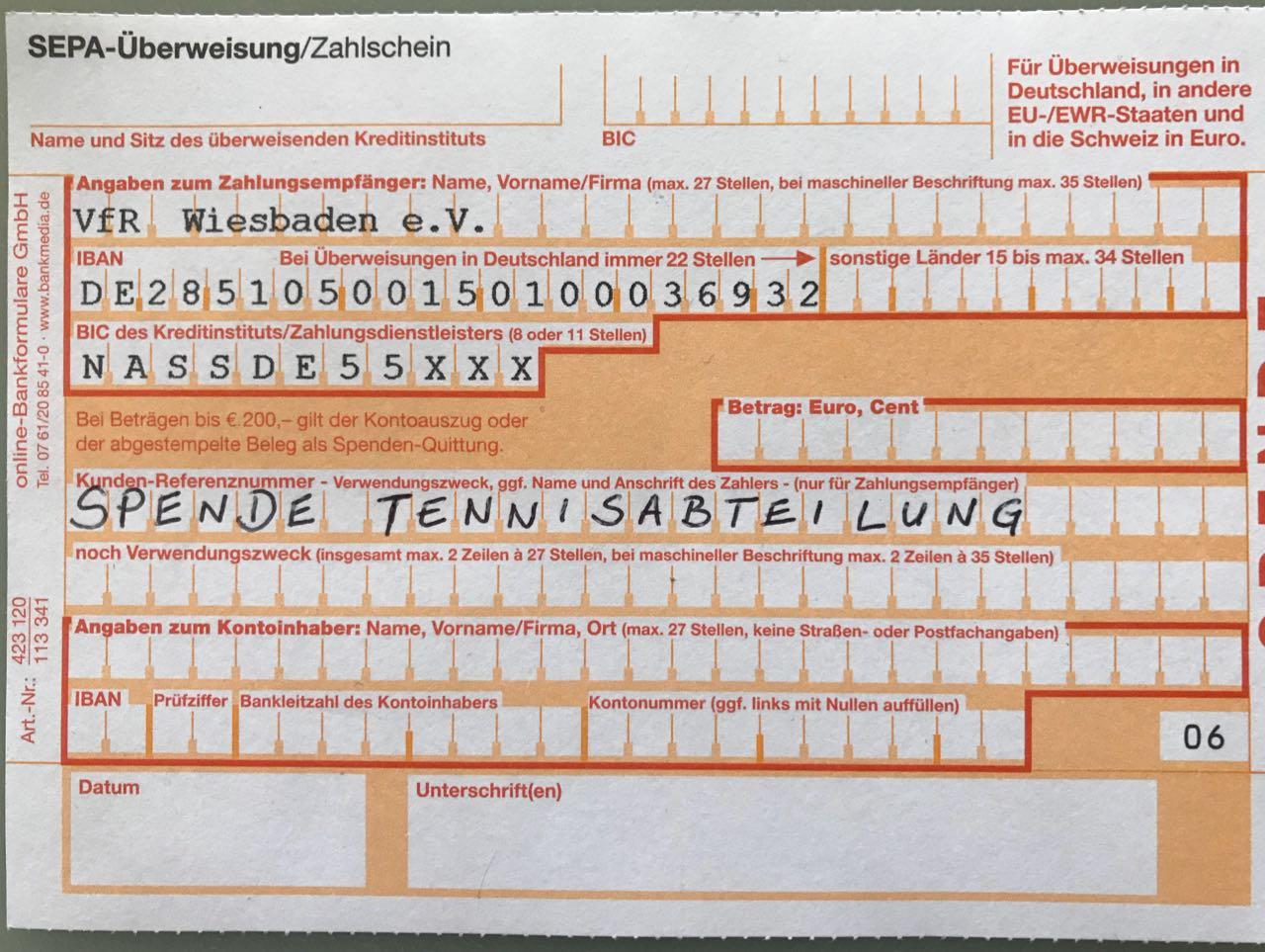 Spenden Clubhaus VfR Wiesbaden